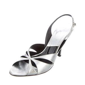 😍 Dior Metallic Silver Leather Slingback Heels